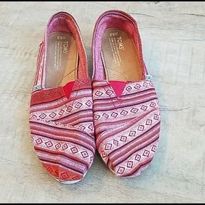 TOMS Red Slip On Flats Size 9.5